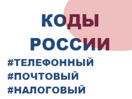 Код Страны Россия - почтовый, телефонный, налоговый